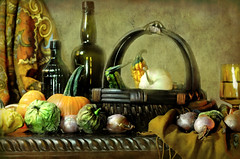 Gourds (floralgal) Tags: autumn stilllife fall texture glass gourds vegetables basket bottles pumpkins onions cloth vegetablebasket tabletopstilllife autumnstilllife basketandbottles basketandgourdsfall wineandbasket bottleswithvegetables