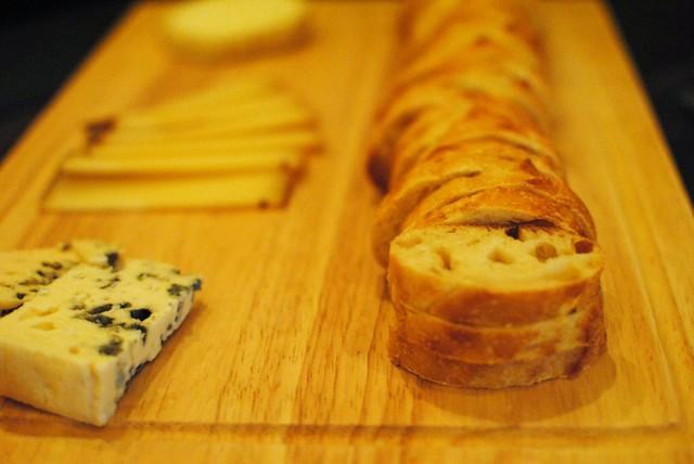 roquefort, comte, goat, fresh baked baguette