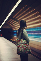 future times (elise **) Tags: girl canon subway 50mm lights waiting prague metro elise bokeh praha 18 nomie 450d