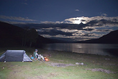 Moonlit Camping at Loch Arkaig (Phil Prescott) Tags: camping sky people moon night fire scotland tents phil lakes prescott lochs lochaber arkaig