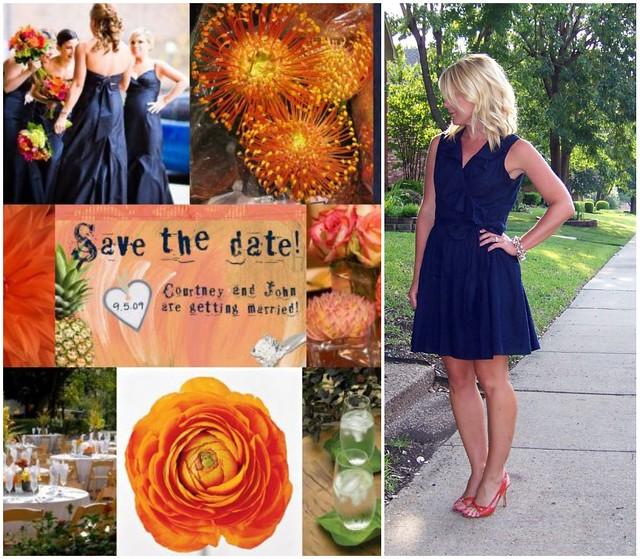 navy orange outfit collage