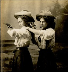 cowgirls (unexpectedtales) Tags: old gay girls woman usa white black boys strange beautiful beauty cowboys vintage wonderful hair studio found cow weird early photo women gun hand looking shot expression antique postcard snapshot young surreal snap photograph american pistol 1900 rodeo vernacular unusual lovely handgun cowgirls perculiar goodlooking enigmatic peculiar peculier unexpectedtales vernaculat