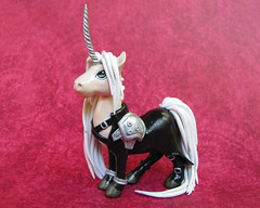 Sephiroth Unicorn (DragonsAndBeasties) Tags: sculpture cloud cute statue hair long magic tail small greeneyes polymerclay fimo fantasy gift tiny handpainted kawaii sculpey etsy custom figurine finalfantasy villain unicorn commission sephiroth premo ittybitty sephy