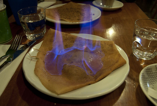 flaming crepes