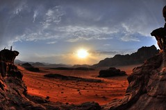 Wadi Rum Sunset Watchers Society (nigeltriharder) Tags: world sunset red mountains heritage clouds rocks catchycolours desert wadirum surreal unesco fisheye jordan nikkor unescoworldheritage hdr intergalactic watchers d90 top20fisheye top20sunsets concordians scenicsnotjustlandscapes top20sunrisesandsunsets