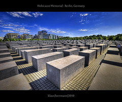 Holocaust Memorial - Berlin, Germany (HDR) (farbspiel) Tags: berlin sunshine clouds photoshop germany geotagged photography nikon cloudy wolken wideangle bluesky handheld holocaustmemorial dri blauerhimmel deu hdr highdynamicrange hdri sonnenschein superwideangle wolkig holocaustmahnmal memorialtothemurderedjewsofeurope niceweather 10mm postprocessing dynamicrangeincrease ultrawideangle d90 schneswetter photomatix denkmalfrdieermordetenjudeneuropas tonemapped tonemapping detailenhancer topazadjust topazdenoise klausherrmann topazsoftware sigma1020mmf35exdchsm topazphotoshopbundle geo:lat=5251443191 geo:lon=1337929845