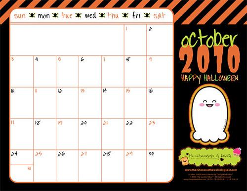 october 2010 calendar printable. October 2010 Calendar