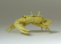 CRAB (Origami by Sipho Mabona) (MABONA ORIGAMI) Tags: art yellow strand paper sand origami crab gelb shore folded papier krebs falten siphomabona mabonaorigami