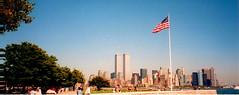 Towards Manhatten. Sept 2000. (luli ~~) Tags: newyork america unitedstates twintowers statueofliberty manhatten ellisisland worldtradecentre september2000 windowsontheworld