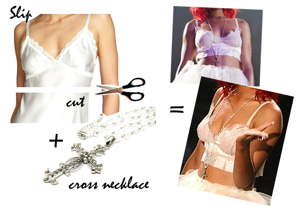 DIY RIHANNA HALLOWEEN COSTUME-2, cut up slip and cross necklace