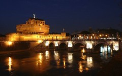 Castel Sant'Angelo & Ponte, Roma - Rome's Castle & Bridge (Sir Francis Canker Photography ) Tags: trip travel italien bridge blue italy panorama vatican rome roma castle history tourism architecture night landscape puente noche twilight