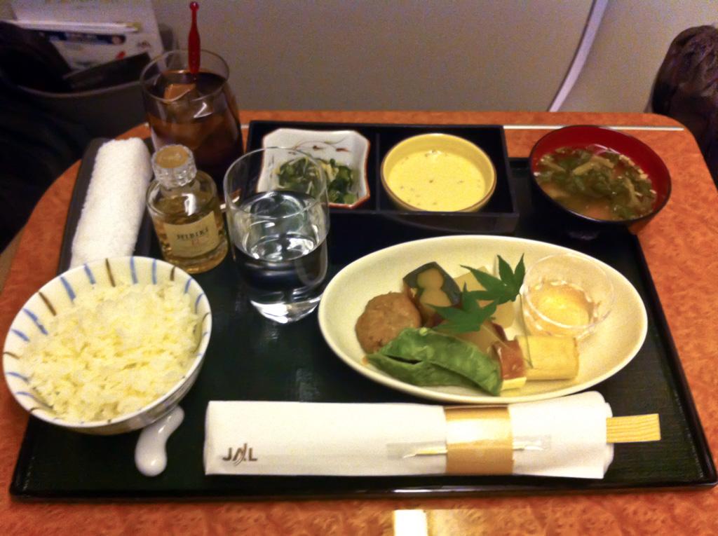 JAL First Class Dinner Service