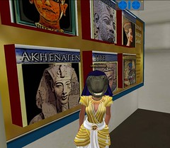 Meritaten wears a Sobek mask after winning a match game in virtual Amarna (Akhetaten) (mharrsch) Tags: ancient mask egypt 18thdynasty nefertiti akhenaten sobek virtualworld meritaten amarna virtualenvironment mharrsch akhetaten heritagekey