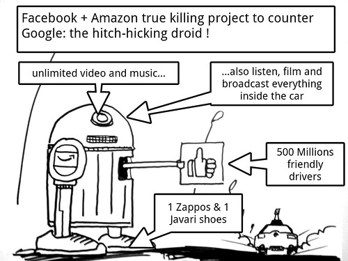 Amazon & Facebook alliance: picture Amazon+Facebook super project against Google car by danielbroche