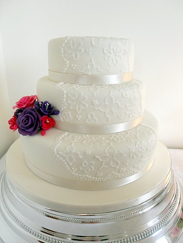 3 tier Brush Embroidery Wedding Cake plus flowers