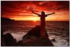 super siren (chris frick) Tags: sunset red sea fun rocks waves mood dusk expression tripod filter drama saga siren cokin remoteshutter sunsetmode modelmartina chrisfrick greekmytholoy sonyalpha550 supersirene