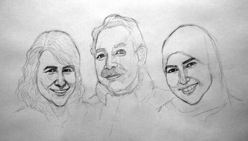 portraits in black and white watercolour - pencil sketch 1
