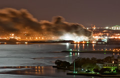 Jersey City Scrap Yard Fire Saturday Night II (Jay Fine) Tags: news night fire newjersey jerseycity smoke nj scrapyard ellisisland nyharbor