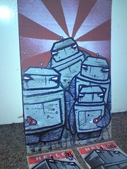 mixed media on cardboard. 7inch x 11inch TRADED (Lisk Bot) Tags: painting robot cardboard piece bot lisk