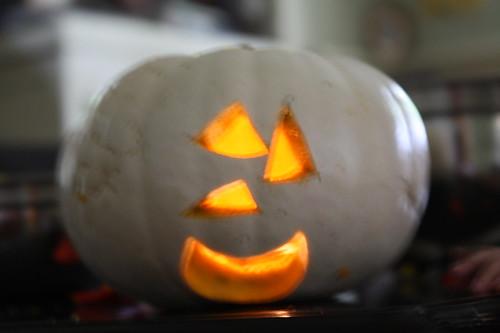 Ezra's pumpkin (he drew the cutouts)