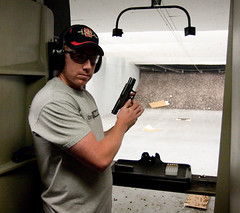 Me acting tough (San Diego Shooter) Tags: gun sandiego guns shooting glock gunrange shootingguns