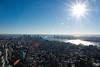 Day 3 - Sunburst over Manhattan (DevilFishMark) Tags: nyc sea sky panorama ny newyork america high honeymoon view empirestatebuilding empirestate uphigh suburst sunburstovermanhattan