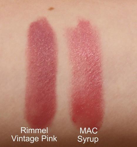 Miss Prissypants: MAC Syrup vs Rimmel Vintage Pink