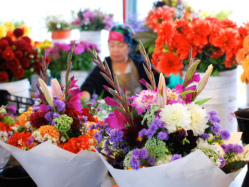 large colorful bouquets...