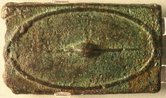 7/1 Aes Signatum Quincussis or 5lb bar with shield about 270BC on display in the British Museum