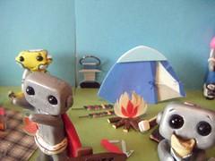 camping robots 3 (Sleepy Robot 13) Tags: camping outside outdoors fire tent smores summercamp sleepingbag polymerclayurbanvinylsleepyrobot13etsysilvercraftcraftscraftingsculptingsculpturefigurinearthandmadecraftshowcutekawaiirobots