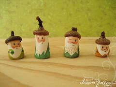 acorns (merwinglittle dear) Tags: autumn fall hat gnome oak little top mini acorn clay figure dear nom