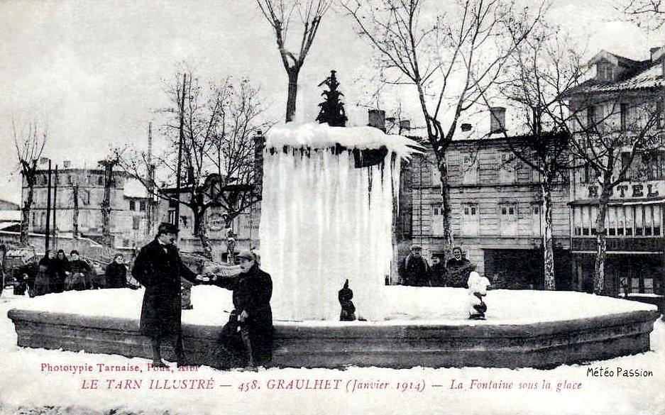 fontaine de Graulhet gelée en janvier 1914