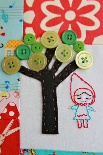 button tree & embroidered girl