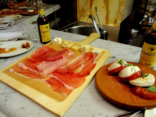 Meat and Cheese platter and sliced Caprese at Eataly