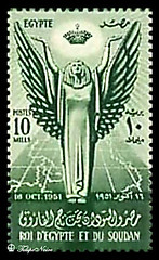 A 10 Millimes Stamp, On The Occasion Of Abrogation of the Anglo-Egyptian Treaty On October 16, 1951 - Issued On February 11, 1952 (C) (Tulipe Noire) Tags: africa wings king map 10 sudan egypt middleeast farouk stamp 1950s egyptian crown 1951 treaty millimes