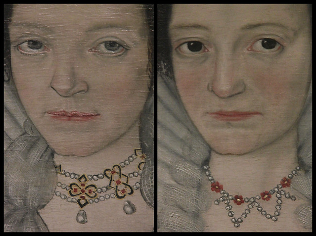 Jewellery details of The Cholmondeley Ladies, British School, about 1600-10
