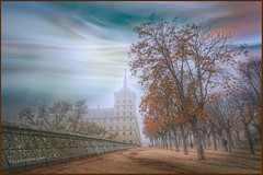 (0328) The magic fog - II (Pablo Arias) Tags: autumn friends espaa amigos art spain arquitectura colours arboles arte colores cielo otoo hdr texturas elescorial smrgsbord composicin photomatix sigma1020 edificiosymonumentos olequebonito nikond300 pueblosdemadrid fractalius kddsnikonistas greatmanipulart grouptripod oltusfotos goldenvisions pabloarias