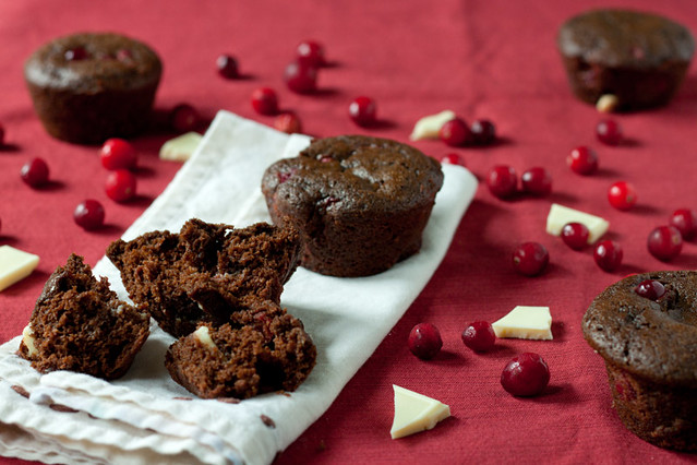 Double Chocolate Cranberry Gingerbread Muffins