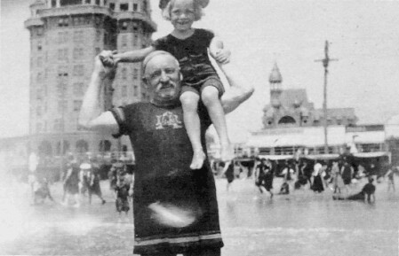 Image of James Dukenfield and W.C. Fields, Jr. on the shoulders of his grandfather in Atlantic City
