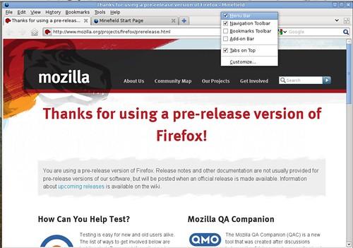 Bouton Firefox sous Mozilla Firefox pour Linux