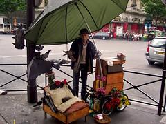 paris charm (end of trip) Tags: road flowers portrait man paris france flores umbrella cat calle kodak sleep retrato pigeons oldman gato palomas charming 2008 dormir francia paraguas hombre encantador