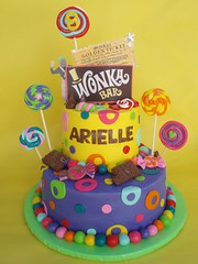Willy Wonka and the Golden Ticket Themed Birthday Cake (CakesUniqueByAmy.com) Tags: birthday cake golden candy chocolate ticket lollipop wonka willy loompa oompa