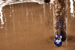 Ukulele Moment (AmyKClark!) Tags: wood water vertical sand waves ukulele wharf poles pylons instruments