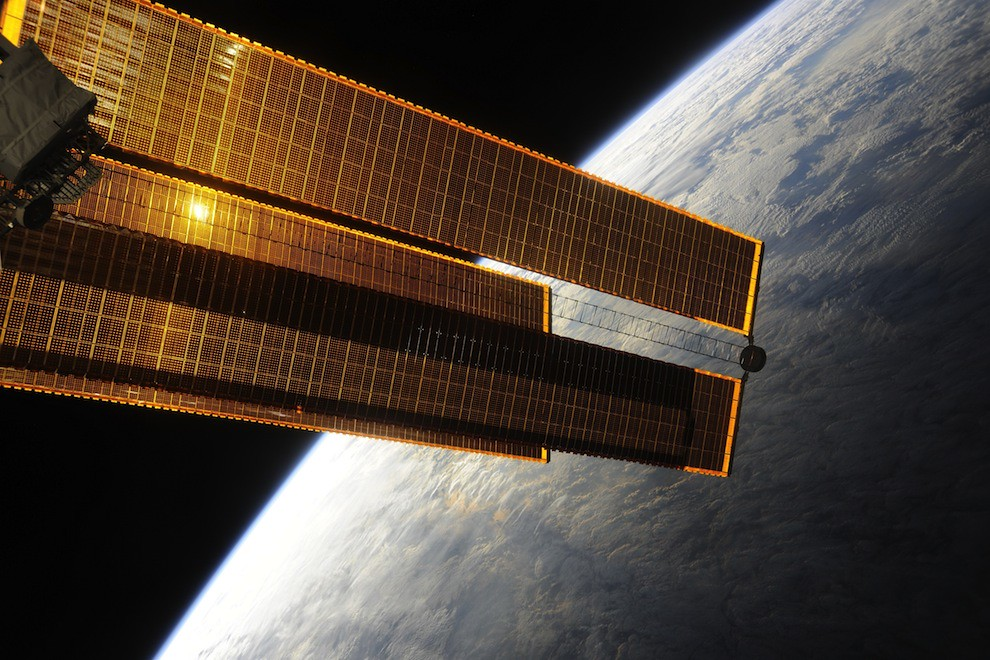 Incredible Photos from Space: ISS solar panel with Earth in the background