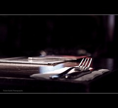 Ready to be served (Violet Kashi) Tags: light menu table restaurant dof silverware napkin knife fork cutlery