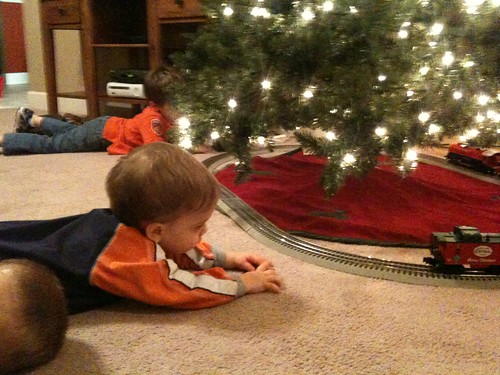 Christmas Train Set Up 2010