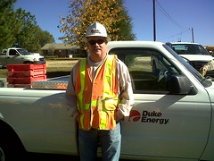 Brian, supervisor of the Durham crew talking a...