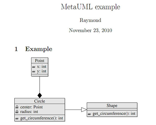 Just do it draw uml with latexmetauml here is more information about latex page layout the final diagram is shown below ccuart