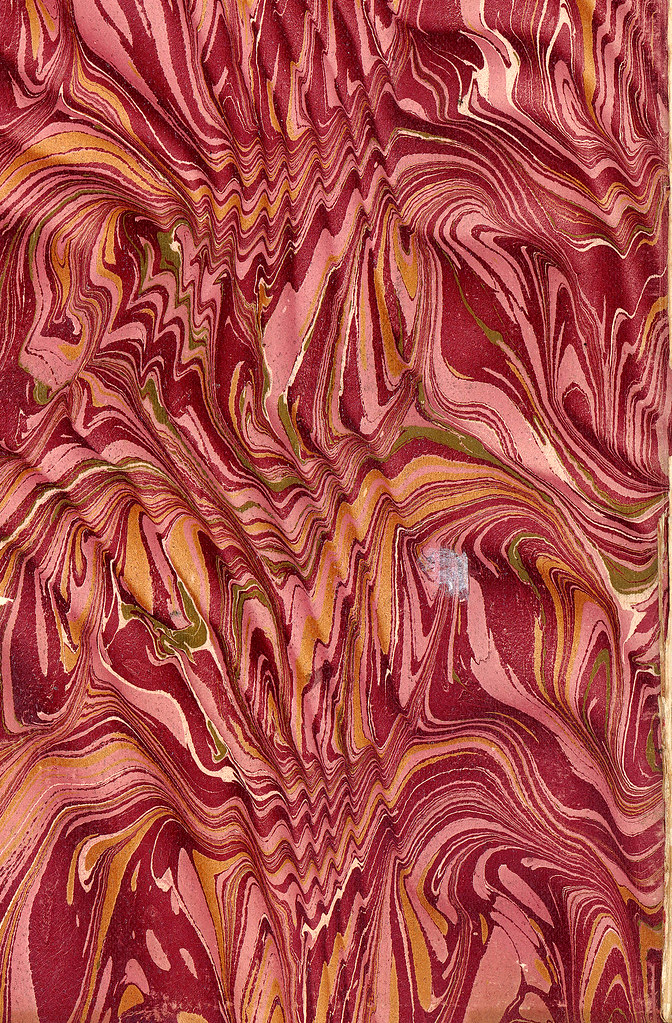 Vintage 19th c. marbled paper, Spanish moiré on Serpentine with gold vein pattern (8)
