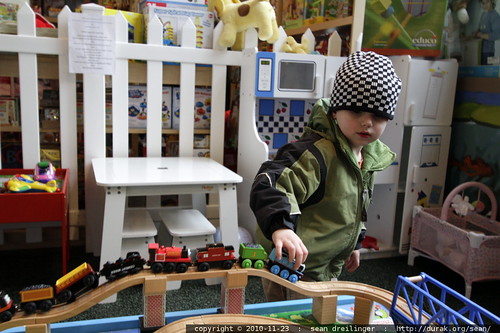 playing with thomas the tank engine on a train table @ frogpond toy store - MG 2794.JPG